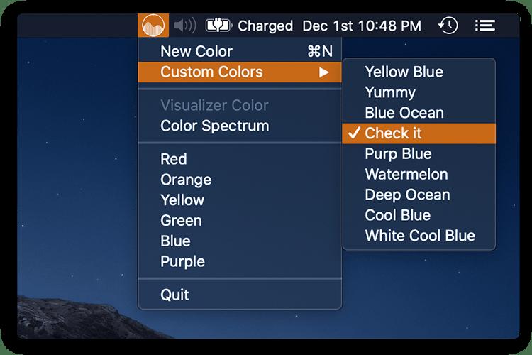 Custom color menu