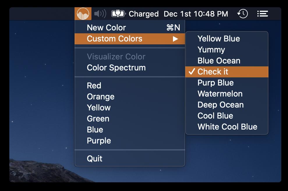 custom colors menu