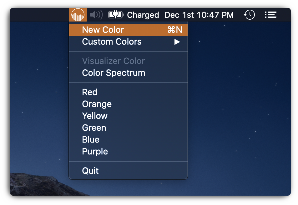 new color menu